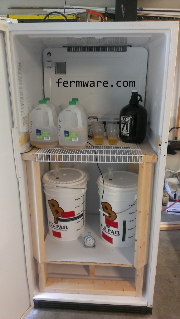 fridge with various items inside